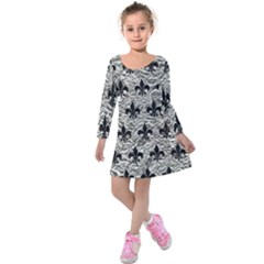 Royal1 Black Marble & Silver Foil (r) Kids  Long Sleeve Velvet Dress
