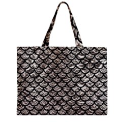 Scales1 Black Marble & Silver Foil Zipper Mini Tote Bag by trendistuff