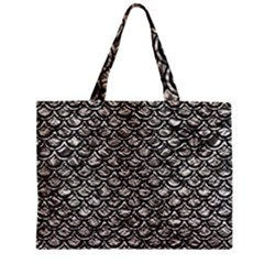 Scales2 Black Marble & Silver Foil Zipper Mini Tote Bag by trendistuff