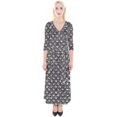 Scales2 Black Marble & Silver Foil Quarter Sleeve Wrap Maxi Dress