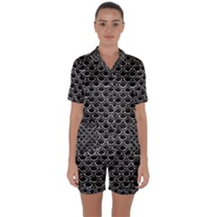 Scales2 Black Marble & Silver Foil (r) Satin Short Sleeve Pyjamas Set by trendistuff