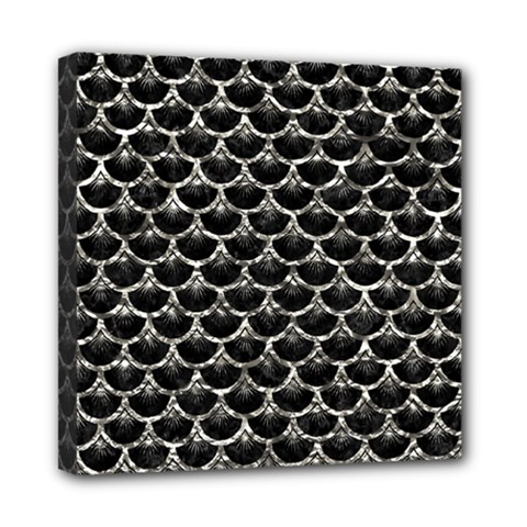 Scales3 Black Marble & Silver Foil (r) Mini Canvas 8  X 8  by trendistuff
