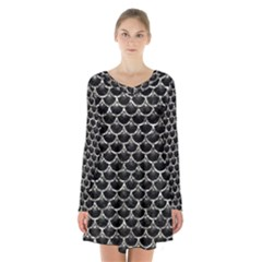 Scales3 Black Marble & Silver Foil (r) Long Sleeve Velvet V Neck Dress