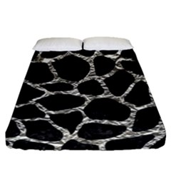 Skin1 Black Marble & Silver Foil Fitted Sheet (queen Size) by trendistuff