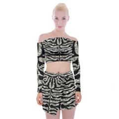 Skin2 Black Marble & Silver Foil Off Shoulder Top With Mini Skirt Set by trendistuff