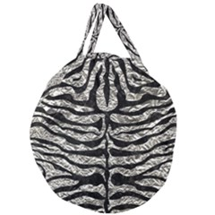 Skin2 Black Marble & Silver Foil Giant Round Zipper Tote by trendistuff
