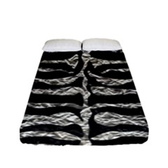 Skin2 Black Marble & Silver Foil (r) Fitted Sheet (full/ Double Size) by trendistuff