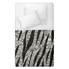 Skin3 Black Marble & Silver Foil Duvet Cover (single Size) by trendistuff