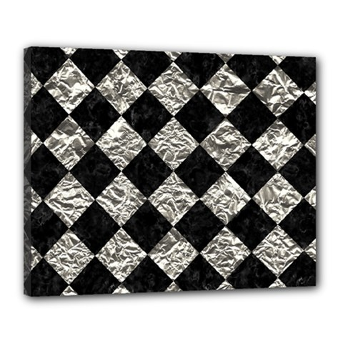 Square2 Black Marble & Silver Foil Canvas 20  X 16  by trendistuff