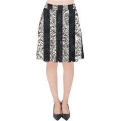 Stripes1 Black Marble & Silver Foil Velvet High Waist Skirt by trendistuff