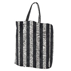 Stripes1 Black Marble & Silver Foil Giant Grocery Zipper Tote
