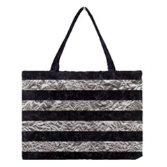 Stripes2 Black Marble & Silver Foil Medium Tote Bag by trendistuff