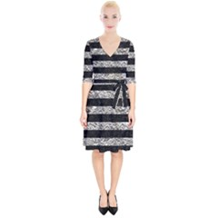 Stripes2 Black Marble & Silver Foil Wrap Up Cocktail Dress