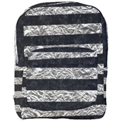 Stripes2 Black Marble & Silver Foil Full Print Backpack by trendistuff