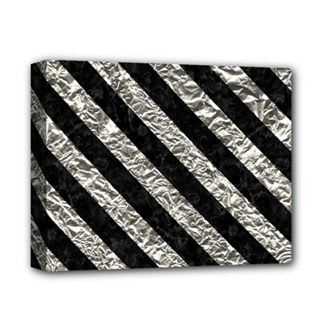 Stripes3 Black Marble & Silver Foil Deluxe Canvas 14  X 11  by trendistuff