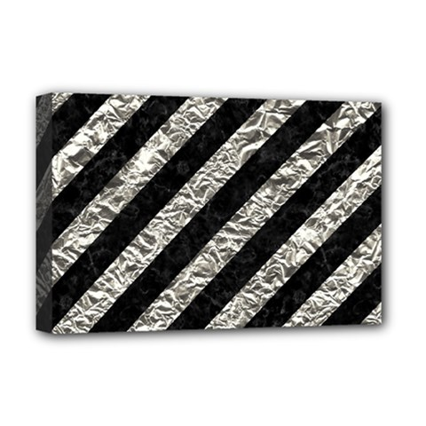 Stripes3 Black Marble & Silver Foil (r) Deluxe Canvas 18  X 12   by trendistuff