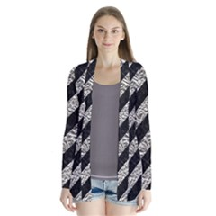 Stripes3 Black Marble & Silver Foil (r) Drape Collar Cardigan by trendistuff
