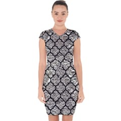 Tile1 Black Marble & Silver Foil Capsleeve Drawstring Dress