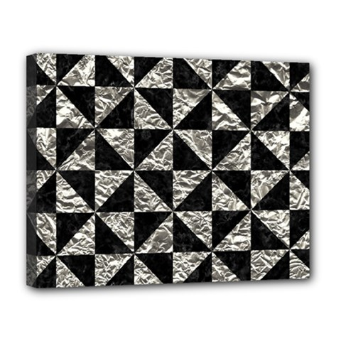 Triangle1 Black Marble & Silver Foil Canvas 14  X 11  by trendistuff