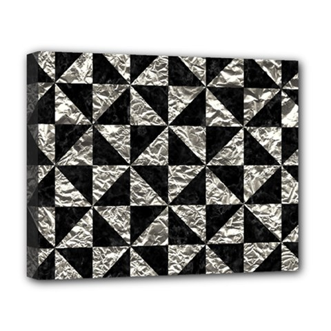 Triangle1 Black Marble & Silver Foil Deluxe Canvas 20  X 16   by trendistuff