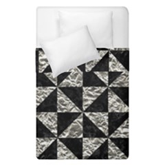 Triangle1 Black Marble & Silver Foil Duvet Cover Double Side (single Size)