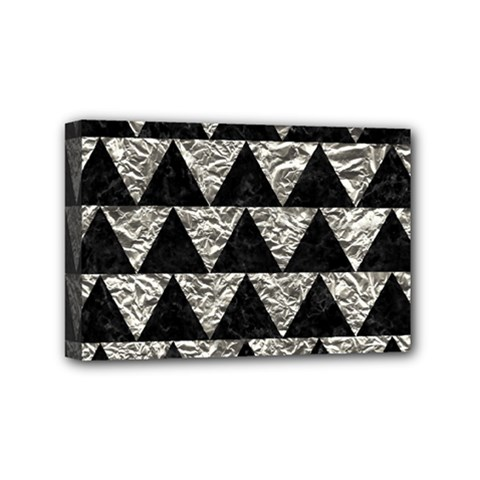 Triangle2 Black Marble & Silver Foil Mini Canvas 6  X 4  by trendistuff