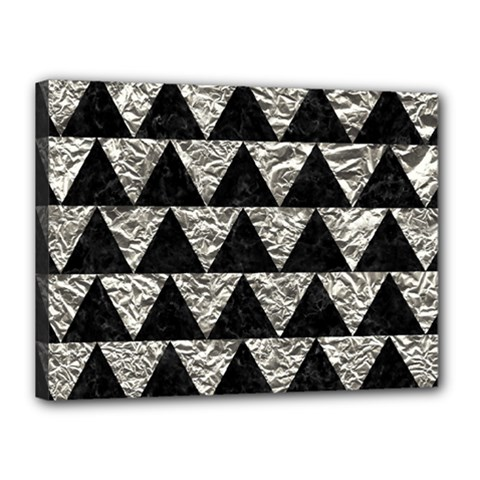Triangle2 Black Marble & Silver Foil Canvas 16  X 12  by trendistuff