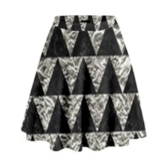 Triangle2 Black Marble & Silver Foil High Waist Skirt by trendistuff