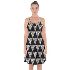 Triangle3 Black Marble & Silver Foil Ruffle Detail Chiffon Dress by trendistuff