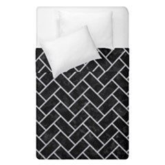 Brick2 Black Marble & Silver Glitter (r) Duvet Cover Double Side (single Size) by trendistuff