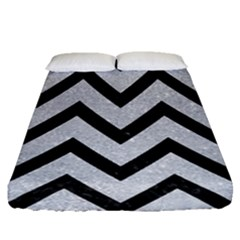 Chevron9 Black Marble & Silver Glitter Fitted Sheet (queen Size) by trendistuff