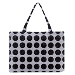 Circles1 Black Marble & Silver Glitter Zipper Medium Tote Bag by trendistuff