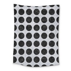 Circles1 Black Marble & Silver Glitter Medium Tapestry by trendistuff