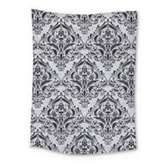 Damask1 Black Marble & Silver Glitter Medium Tapestry by trendistuff