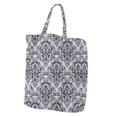 Damask1 Black Marble & Silver Glitter Giant Grocery Zipper Tote by trendistuff