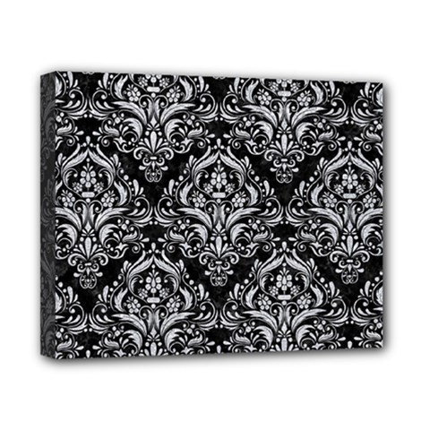 Damask1 Black Marble & Silver Glitter (r) Canvas 10  X 8  by trendistuff