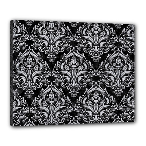 Damask1 Black Marble & Silver Glitter (r) Canvas 20  X 16  by trendistuff