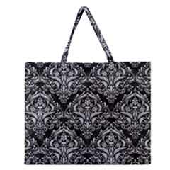 Damask1 Black Marble & Silver Glitter (r) Zipper Large Tote Bag