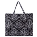 DAMASK1 BLACK MARBLE & SILVER GLITTER (R) Zipper Large Tote Bag View1