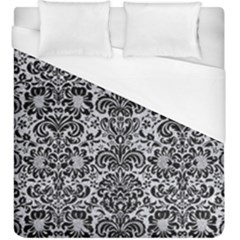 Damask2 Black Marble & Silver Glitter Duvet Cover (king Size) by trendistuff