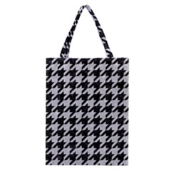 Houndstooth1 Black Marble & Silver Glitter Classic Tote Bag by trendistuff