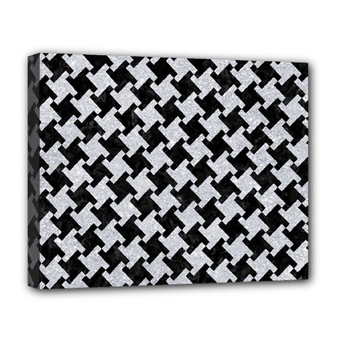 Houndstooth2 Black Marble & Silver Glitter Deluxe Canvas 20  X 16   by trendistuff