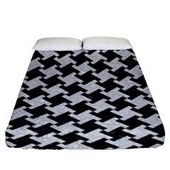 Houndstooth2 Black Marble & Silver Glitter Fitted Sheet (king Size)