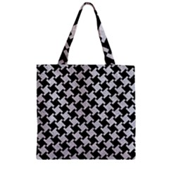 Houndstooth2 Black Marble & Silver Glitter Zipper Grocery Tote Bag by trendistuff