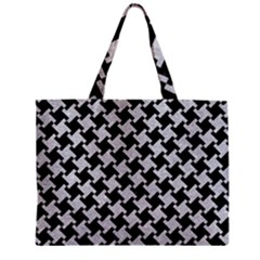 Houndstooth2 Black Marble & Silver Glitter Zipper Mini Tote Bag by trendistuff