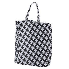 Houndstooth2 Black Marble & Silver Glitter Giant Grocery Zipper Tote by trendistuff