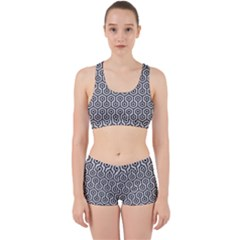 Hexagon1 Black Marble & Silver Glitter Work It Out Sports Bra Set