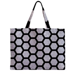 Hexagon2 Black Marble & Silver Glitter Zipper Mini Tote Bag by trendistuff