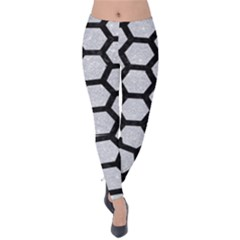 Hexagon2 Black Marble & Silver Glitter Velvet Leggings