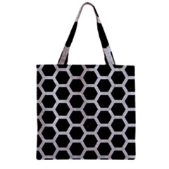 Hexagon2 Black Marble & Silver Glitter (r) Zipper Grocery Tote Bag by trendistuff